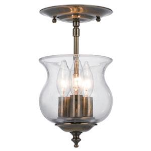 Ascott Antique Brass Three-Light Bell Jar Pendant