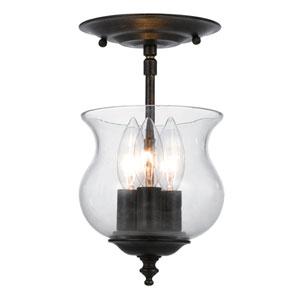 Ascott English Bronze Three-Light Bell Jar Semi-Flush Mount