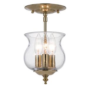 Ascott Polished Brass Three-Light Bell Jar Pendant