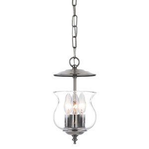 Ascott Pewter Three-Light Bell Jar Pendant