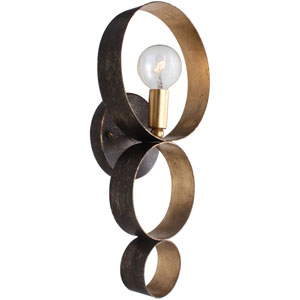 Luna English Bronze and Antique Gold One Light Sphere Wall Sconce