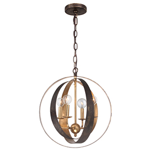 Luna English Bronze and Antique Gold Four Light Sphere Chandelier