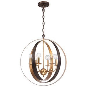 Luna English Bronze and Antique Gold Six Light Sphere Large Chandelier