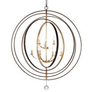 Luna English Bronze Nine-Light Chandelier