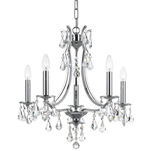 Cedar Polished Chrome Five Light Mini-Chandelier with Clear Swarovski Strass Crystal