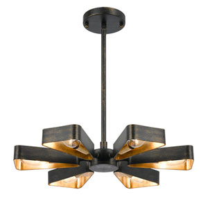 Luna Bronze and Gold Six-Light Chandelier