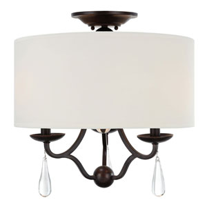 Manning English Bronze Three-Light Ceiling Mount