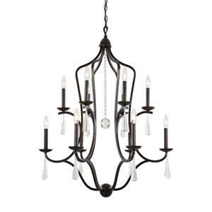 Manning English Bronze Twelve-Light Chandelier