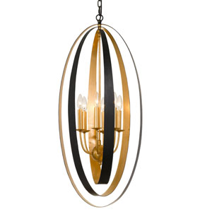 Luna Six-Light English Bronze and Antique Gold Pendant