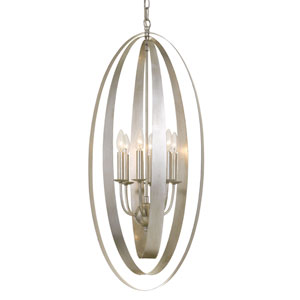 Luna Six-Light Antique Silver Pendant