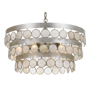 Coco 22-Inch Antique Silver Six-Light Chandelier
