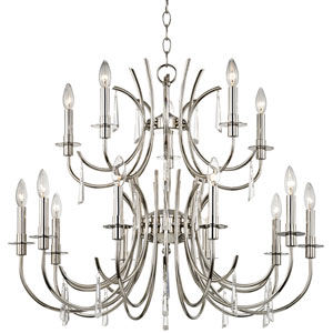 Cody Polished Nickel Fifteen Light Chandelier with Clear Hand Cut Crystal