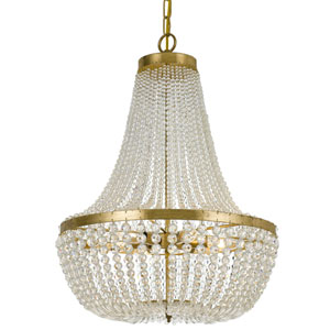 Rylee Antique Gold Six Light Chandelier with Hand Cut Faceted Crystal Beads