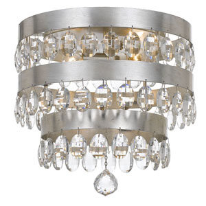 Perla Antique Silver Four Light Flush Mount with Clear Elliptical Faceted Crystal