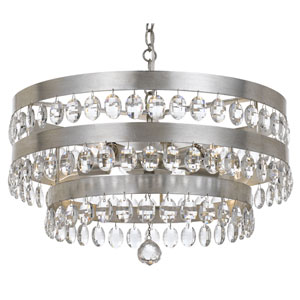 Perla Antique Silver Five Light Chandelier with Clear Elliptical Faceted Crystal