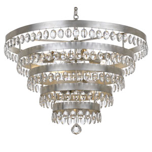Perla Antique Silver 9 Light Chandelier with Clear Elliptical Faceted Crystal