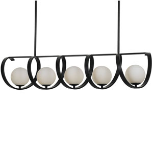 Arlo Matte Black Five Light Island Pendant