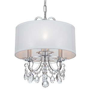 Othello Polished Chrome Three Light Mini-Chandelier with Clear Swarovski Strass Crystal