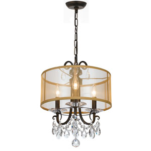 Othello 15-Inch English Bronze Three-Light Mini Chandelier