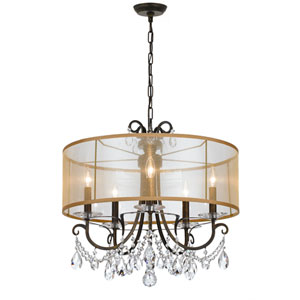 Othello 24-Inch English Bronze Five-Light Chandelier