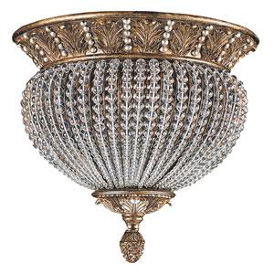 Fashion Forward Weathered Patina Crystal Two-Light Flush Mount