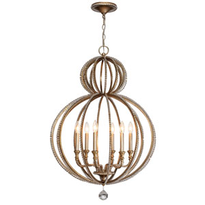 Garland Distressed Twilight 37.5-Inch Six Light Chandelier with Hand Cut Crystal Bead
