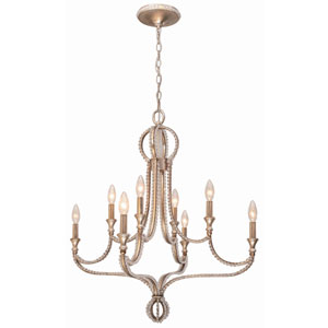 Garland Distressed Twilight Eight-Light Chandelier with Clear Beads