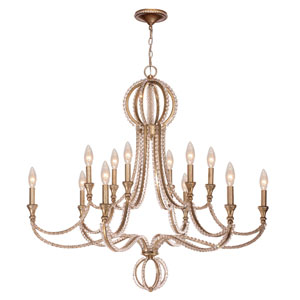 Garland Distressed Twilight Twelve-Light Crystal Bead Chandelier