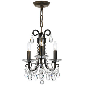 Othello 13-Inch English Bronze Three-Light Mini Chandelier