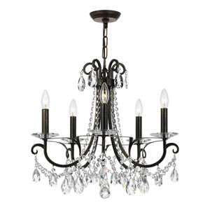 Othello 20-Inch English Bronze Five-Light Chandelier