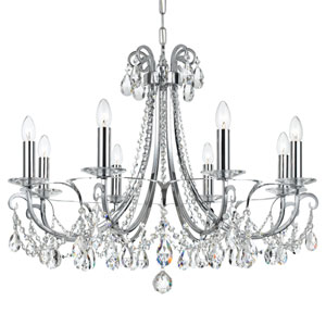 Othello Polished Chrome Eight Light Chandelier with Clear Swarovski Strass Crystal
