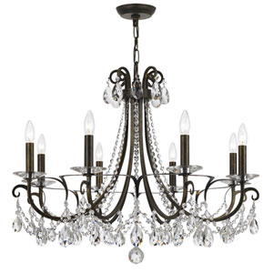 Othello English Bronze Eight-Light Chandelier