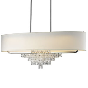 Addison Polished Chrome Six Light Forty Two Inch Chandelier with Glass Ice Cube Crystal