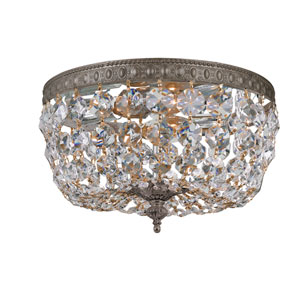 Richmond Majestic Wood Polished Crystal English Bronze Two-Light Flush Mount