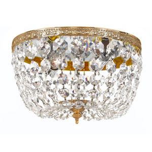 Cortland Olde Brass Two-Light Crystal Flush Mount