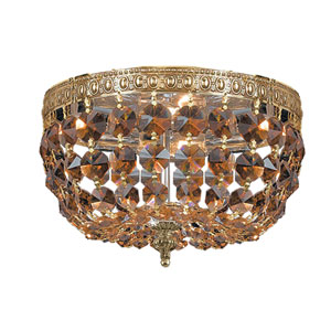 Richmond Olde Brass Two Light Flush Mount with Golden Teak Crystal