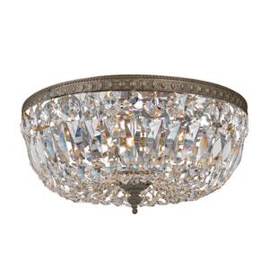 Richmond English Bronze Two-Light Crystal Basket Flush Mount with Swarovski Strass Crystal