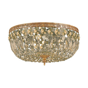 Richmond Olde Brass Three Light Flush Mount with Hand Cut Golden Teak Crystal