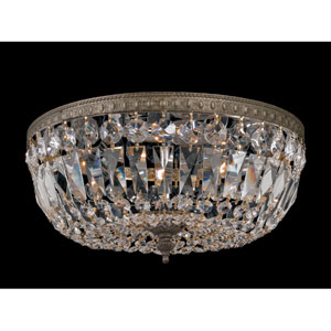 Richmond English Bronze Three-Light Crystal Basket Flush Mount with Swarovski Strass Crystal