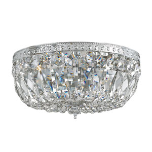 Majestic Wood Polished Crystal Flush Ceiling Light