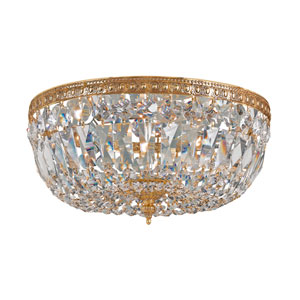 Cortland Olde Brass Three-Light Crystal Flush Mount