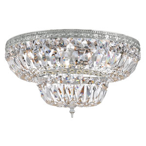 Polished Chrome Four-Light Flush Mount with Clear Hand-Cut Crystal