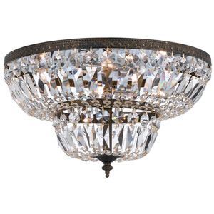 Richmond English Bronze Four-Light Flush Mount with Clear Hand Cut Crystal