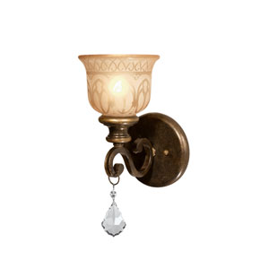 Norwalk Bronze Umber One-Light Wall Sconce with Hand Polished Crystal