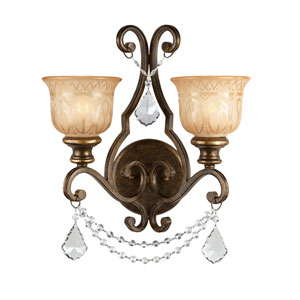 Norwalk Bronze Umber Two-Light Wall Sconce with Hand Polished Crystal