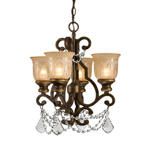 Norwalk Bronze Umber Four-Light Chandelier with Hand Polished Crystal