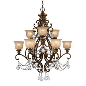 Norwalk Bronze Umber Nine-Light Chandelier with Hand Polished Crystal