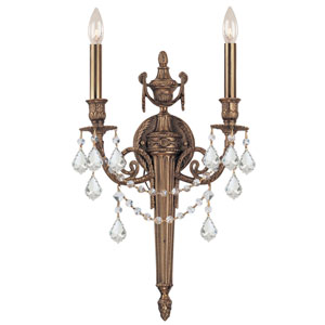 Arlington Matte Brass Two-Light Wall Sconce with Hand Polished Crystal