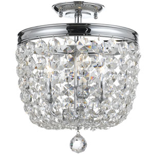 Archer Polished Chrome Three Light Flush Mount with Clear Hand Cut Crystal