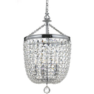 Archer Polished Chrome Five Light Chandelier with Clear Hand Cut Crystal